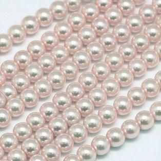 Voskované perly - pudrové - Ø 8 mm - 10 ks