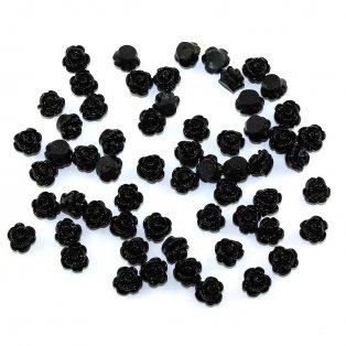 Akrylová růže - černá - 9 x 7 mm - 1 ks