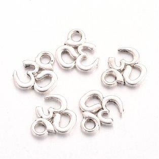 Přívěsek ze zinkové slitiny - Óm - starostříbrný - 10 x 10 x 1 mm - 1 ks