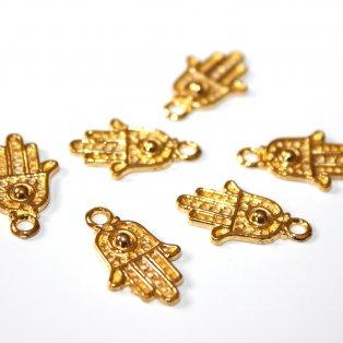 Kovový přívěsek - zlatý - hamsa - 21 x 13 x 2 mm - 1 ks