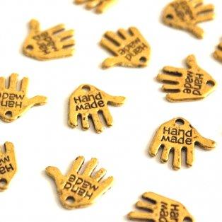 Handmade - zlatý - 12 x 13 mm - 1 ks