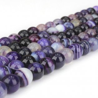 Přírodní pruhovaný achát - fialový - ∅ 4 mm - 1 ks