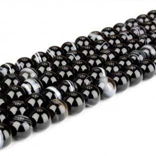 Přírodní pruhovaný achát - černý - třída A - ∅ 8 mm - 1 ks