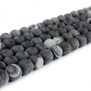 Přírodní pruhovaný achát - černý - matný - třída A - ∅ 8 mm - 1 ks