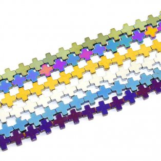 Hematitové kříže (pokovené) - 8 x 8 x 3 mm - různé provedení - 1 ks