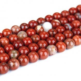 Přírodní červený jaspis - ∅ 8 mm - 1 ks