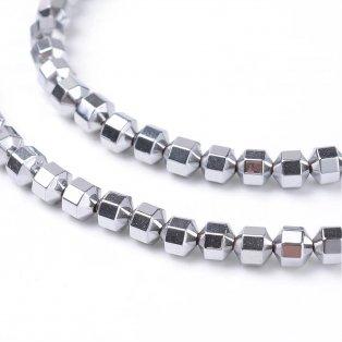 Hematitové osmiúhelníky - stříbrné - 4 x 4 mm - 10 ks