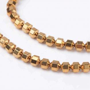 Hematitové osmiúhelníky - zlaté - 4 x 4 mm - 10 ks