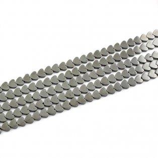 Syntetický hematit - ocelově šedý - srdce - 8 x 8 x 2 mm - 1 ks