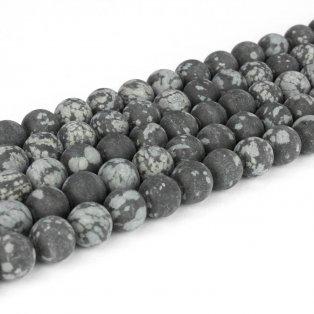 Přírodní vločkový obsidián - matný - ∅ 4 mm - 1 ks