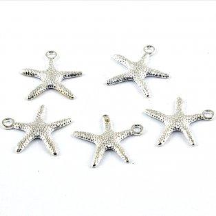 Hvězdice - stříbrná - 19 x 19 x 2 mm - 1 ks