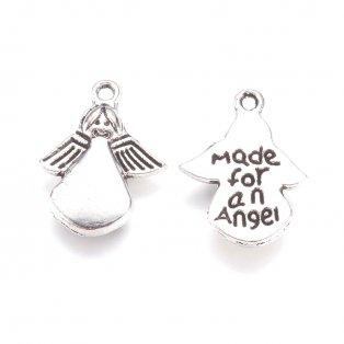 Kovový přívěsek - anděl - starostříbrný - 18 x 13 x 2 mm - 1 ks