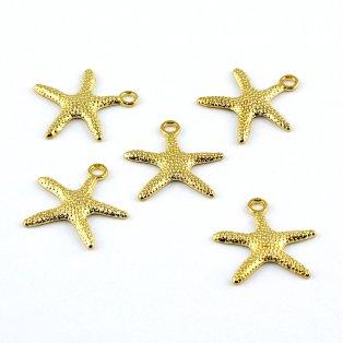 Kovový přívěsek - zlatý - hvězdice - 19 x 19 x 2 mm - 1 ks