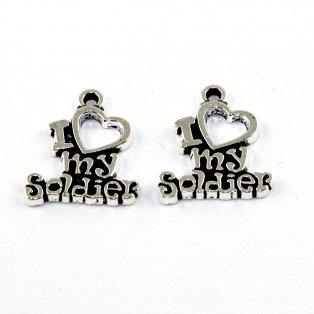 I love my soldier - stříbrný - 19 x 17 x 2 mm - 1 ks