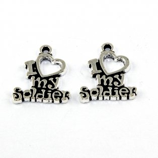 I love my soldier - stříbrný - 19 x 17 x 2 mm - 1 ks