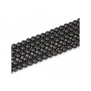 Matné korálky - černé - třída B - ∅ 8 mm - 10 ks