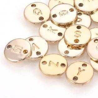 Kovový mezidíl - placička s písmenem - zlatý - 10 x 10 x 1 mm - 1 ks