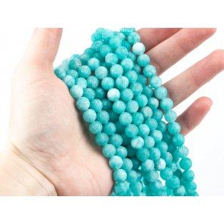 Přírodní bílý nefrit - matný - modrý - ∅ 8 mm - 1 ks