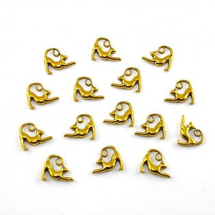 Kovový přívěsek - zlatý - kočka - 14 x 17 x 3,5 mm - 1 ks