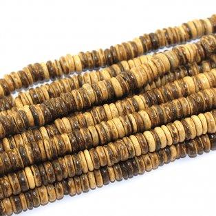 Korálky s kokosového dřeva - hnědé - 8 x 8 x 2 mm - 10 ks