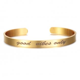 Náramek z chirurgické oceli - GOOD VIBES ONLY - zlatý - 1 ks