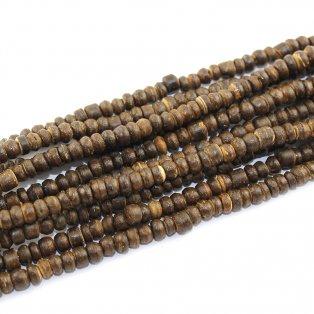 Korálky z kokosového dřeva - tmavě hnědé - 4~8 x 4~8 x 2~6 mm - 10 ks