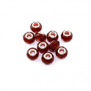 Korálky evropského typu - 14 x 10 mm - červené - 1 ks