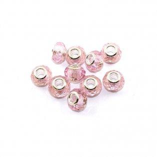 Korálky evropského typu - 14 x 10 mm - růžové - 1 ks