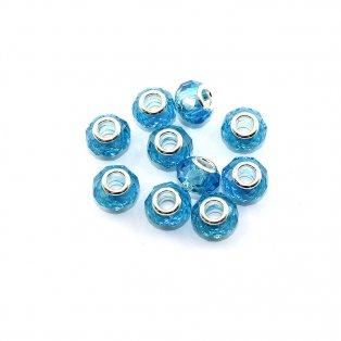 Korálky evropského typu - 14 x 10 mm - světle modré - 1 ks