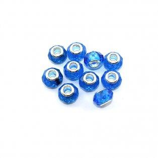 Korálky evropského typu - 14 x 10 mm - tmavě modré - 1 ks