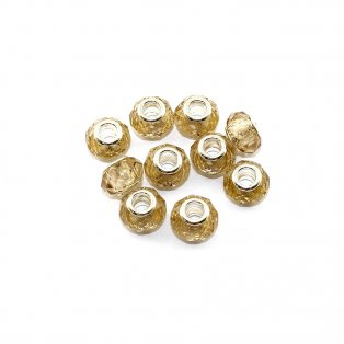 Korálky evropského typu - 14 x 10 mm - zlaté - 1 ks