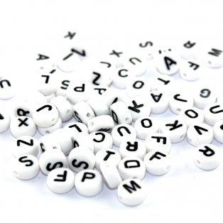 Akrylové korálky s písmenky - bílé lentilky - 7 x 7 x 4 mm - 50 g