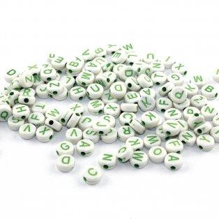 Korálky s písmenky - zelené - 50 g