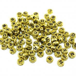 Korálky s písmenky - zlaté lentilky - 50 g