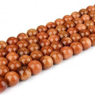 Korálky ze zlatého kamene - ∅ 8 mm - hnědozlaté - 1 ks