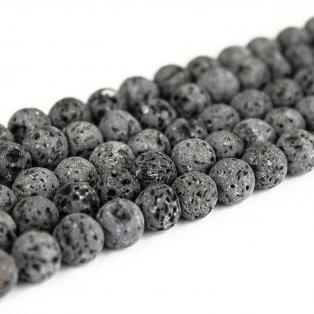 Přírodní láva - šedá - ∅ 6 mm - 1 ks