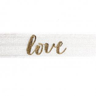 """Elastická stuha - bílá - """"love"""" - 1,5 cm - 30 cm - 1 ks"""