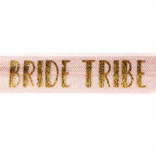 "Elastická stuha - pudrově růžová - ""bride tribe"" - 1,5 cm - 30 cm - 1 ks"