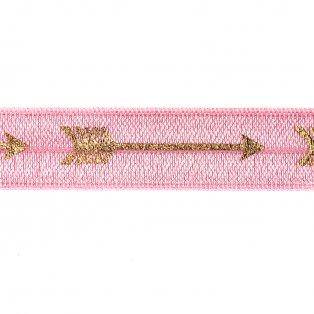 Elastická stuha - pastelově růžová - šíp - 1,5 cm - 30 cm - 1 ks