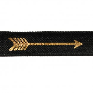 Elastická stuha - černá - šíp - 1,5 cm - 30 cm - 1 ks