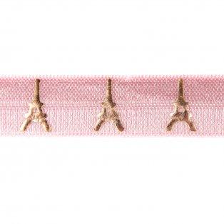 Elastická stuha - světle růžová - Eiffelova věž - 1,5 cm - 30 cm - 1 ks