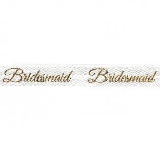 """Elastická stuha - bílá - """"bridesmaid"""" - 1,5 cm - 30 cm - 1 ks"""
