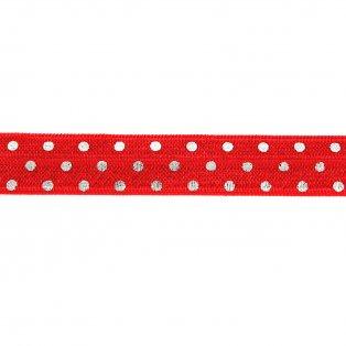 Elastická stuha - červená - puntíky - 1,5 cm - 30 cm - 1 ks
