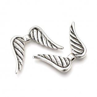 Andělská křídla - starostříbrná - 23 x 35 x 4,5 mm - 1 ks