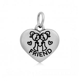 """Přívěsek z nerezové oceli - srdce - """"friend"""" - 16,5 x 17 x 4 mm - 1 ks"""