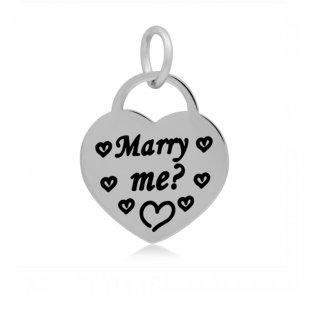 """Přívěsek z nerezové oceli - placička - srdce s nápisem """"Marry me?"""" - 19 x 17 x 2 mm - 1 ks"""