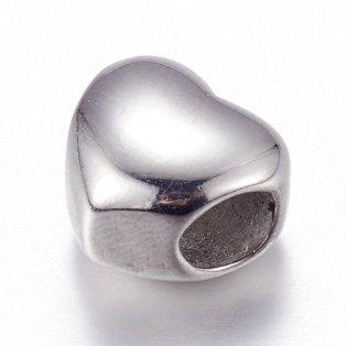 Korálek z nerezové oceli - srdce - 10 x 11 x 8 mm  - 1 ks