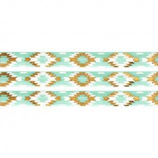Elastická stuha - mátová - aztécký kosočtverec - 1,5 cm - 30 cm - 1 ks