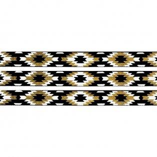 Elastická stuha - černá - aztécký kosočtverec - 1,5 cm - 30 cm - 1 ks