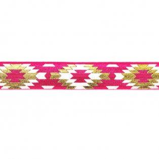 Elastická stuha - růžová - aztécký kosočtverec - 1,5 cm - 30 cm - 1 ks